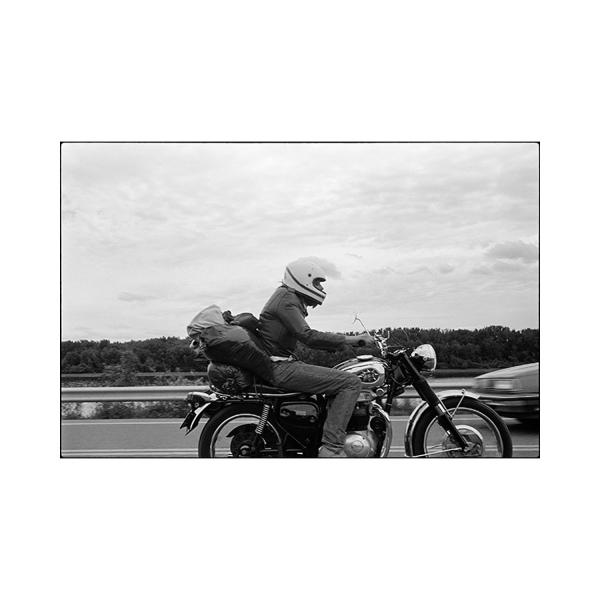 BSA Motorcycle slides past