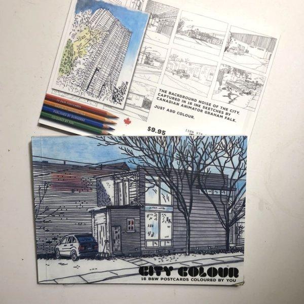 City Colour postcard coloring book